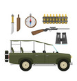 safari travel compass rifle binoculars vector image vector image