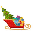 santa claus sleigh with gifts and christmas tree vector image vector image