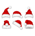 santa red hat party fur christmas traditional vector image