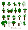 set of creative trees icons vector image vector image