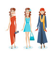 set of girls in dresses sarafans autumn clothes vector image