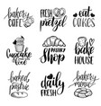 set of vintage bakery hand lettering vector image vector image