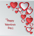 valentines day background with 3d paper hearts vector image