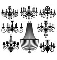 vintage crystal chandeliers silhouettes vector image vector image