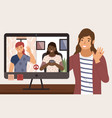 virtual meeting on internet people on vector image vector image
