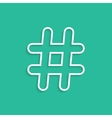 white hashtag icon isolated on green background vector image vector image