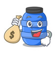 with money bag large cartoon plastic barrel for vector image