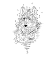 Abstract graphic wolf print vector image