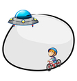 A round empty template with a flying saucer and a vector image vector image