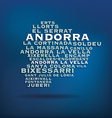 Andorra map made with name of cities vector image vector image