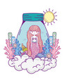 beautiful mermaid in mason jar with seaweed vector image vector image