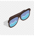 black sunglasses with a beach reflecting isometric vector image