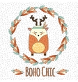 Boho deer in feather wreath in hand drawn style vector image vector image