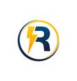 bolt electricity letter r vector image