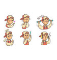 boy wearing cap showing different emotions set vector image vector image