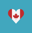 canada flag icon in a heart shape in flat design vector image