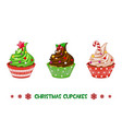 cartoon cupcakes merry christmas vector image