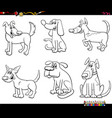 cartoon dog characters set coloring book page vector image vector image