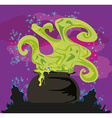 Cauldron with a boiling magic potion on an vector image