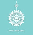 christmas card with hanging paper snowflake vector image vector image