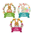 collection bunnies floral decoration frame happy vector image vector image