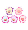cute cartoon sheep set grunge hand-drawn style vector image