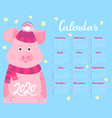 cute pig in a striped hat with a fluffy pompon vector image vector image