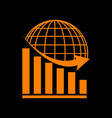 declining graph with earth orange icon on black vector image vector image