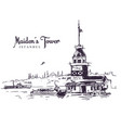 drawing sketch maidens tower vector image vector image