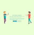 electronic gadgets web banner with two teenagers vector image vector image