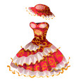 elegant red classic dress with hat vector image vector image