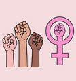 female hands feminist sign feminism symbol vector image