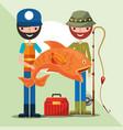 fisherman fishing cartoon vector image