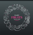 frame with hand drawn fruits vector image vector image