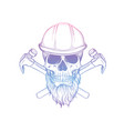 hand drawn sketch skull with helmet vector image