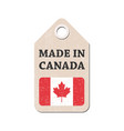 hang tag made in canada with flag vector image vector image