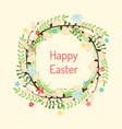 happy easter doodle floral wreath vector image