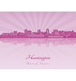 Huntington skyline in purple radiant orchid in vector image
