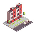 isometric townhouse building composition vector image vector image