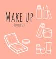 make up doodle set on pink background vector image vector image