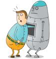 Man repairing robot vector image vector image