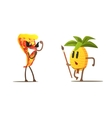Pizza Slice Against Pineapple Cartoon Fight vector image vector image