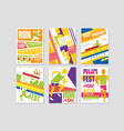 run fest posters set running marathon sport and vector image vector image
