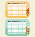 Schedules for kids with fox and girl vector image