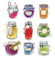 set od hand drawn mason jars with jam vector image vector image
