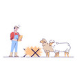 sheep farming flat livestock agriculture animal vector image vector image