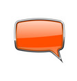 speech bubble square orange 3d icon with chrome vector image vector image