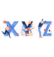 sport letters x for xare game y for yoga z vector image