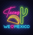 tacos- neon sign on brick wall background vector image