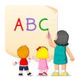 teacher is teaching alphabet vector image vector image